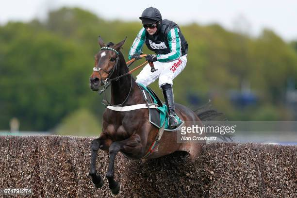 Nico de Boinville riding Altior clear the last to win The bet365 Celebration Steeple Chase at Sandown Park on April 29 2017 in Esher England