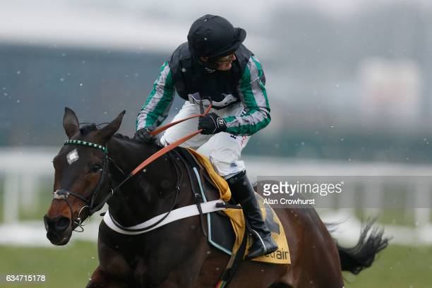 Nico de Boinville riding Altior looks for dangers after clearing the last to win The Betfair Exchange Steeple Chase at Newbury Racecourse on February...