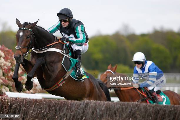 Nico de Boinville riding Altior on their way to winning The bet365 Celebration Steeple Chase at Sandown Park on April 29 2017 in Esher England