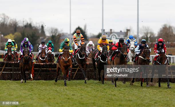 Nico de Boinville riding Might Bite on their way to winning The racingukcom/hd Kempton Park Silver Plate at Kempton Park racecourse on March 19 2016...