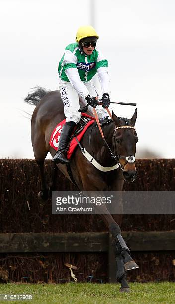 Nico de Boinville riding Portway Flyer clear the last to win The Racing UK In HD Kempton Park Silver Bowl at Kempton Park racecourse on March 19 2016...