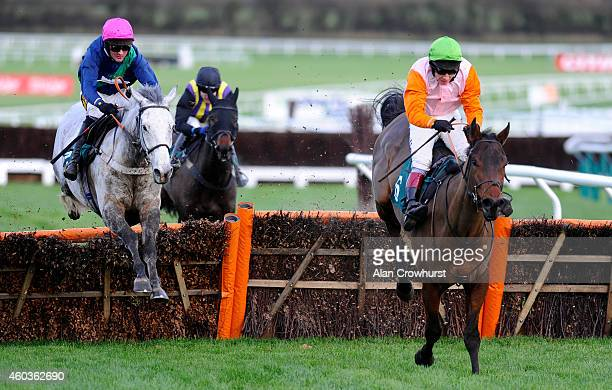 Nico de Boinville riding Starluck clear the last to win The CF Roberts Electrical Mechanical Services Handicap Hurdle Race at Cheltenham racecourse...