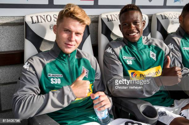 Nico Elvedi and Denis Zakaria of Borussia Moenchengladbach ahead the friendly match between KAS Eupen and Borussia Moenchengladbach at KehrwegStadion...