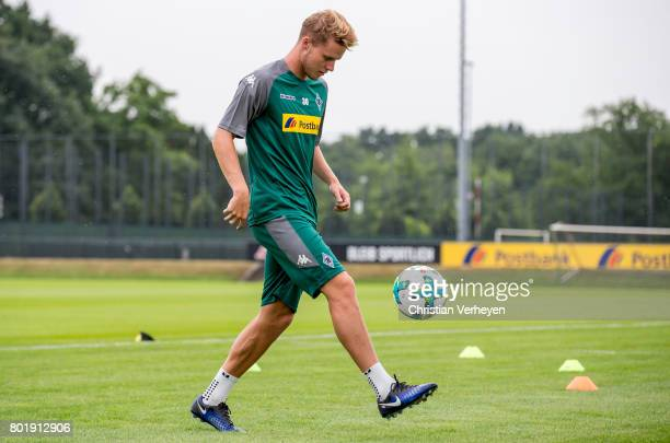 Nico Elvedi controls the ball during a training session of Borussia Moenchengladbach at BorussiaPark on June 27 2017 in Moenchengladbach Germany