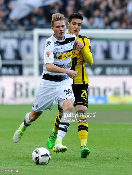 Nico Elvedi of Borussia Moenchengladbach in action against Mikel Merino of Borussia Dortmund during the Bundesliga soccer match between Borussia...