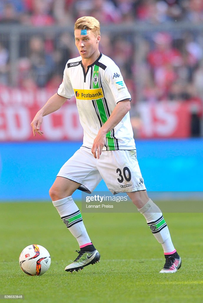 Nico Elvedi of Borussia Moenchengladbach in action during the Bundesliga match between FC Bayern Muenchen and Borussia Moenchengladbach at Allianz Arena on April 30, 2016 in Munich, Germany.