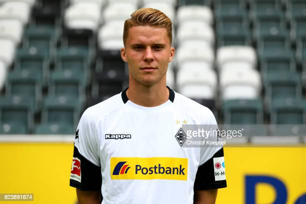 Nico Elvedi of Borussia Moenchengladbach poses during the team presentation at Borussia Park on July 28 2017 in Moenchengladbach Germany