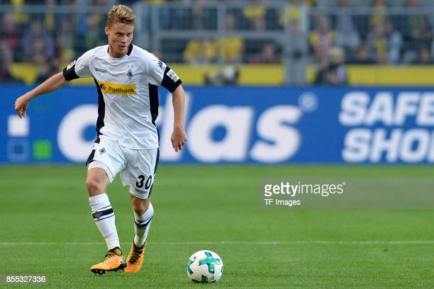 Nico Elvedi of Moenchengladbach controls the ball during the Bundesliga match between Borussia Dortmund and Borussia Moenchengladbach at Signal Iduna...