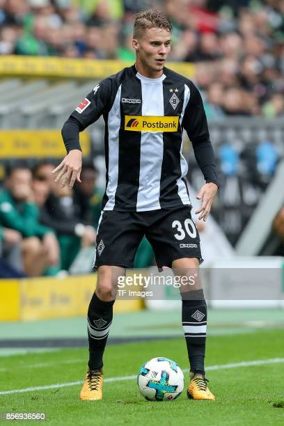 Nico Elvedi of Moenchengladbach controls the ball during the Bundesliga match between Borussia Moenchengladbach and Hannover 96 at BorussiaPark on...