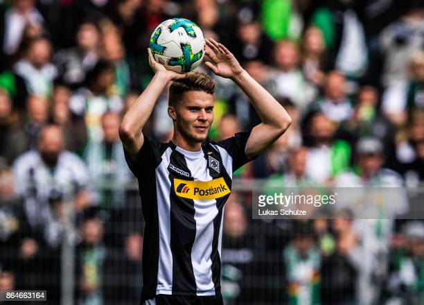 Nico Elvedi of Moenchengladbach prepares a throwin during the Bundesliga match between Borussia Moenchengladbach and Bayer 04 Leverkusen at...