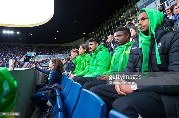 Nico Elvedi Yann Sommer Mahmoud Dahoud Tsiy William Ndenge and Djibril Sow of Borussia Moenchengladbach during he visit to a match of FC Luzern FC...