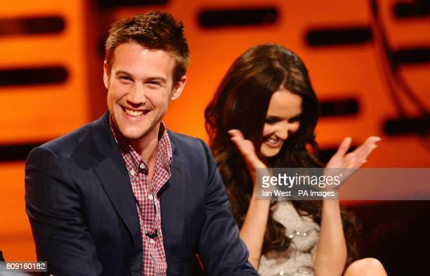 Nico EversSwindell and Camilla Luddington during filming for the Graham Norton show at the London Studios The show will air on BBC One tomorrow at...