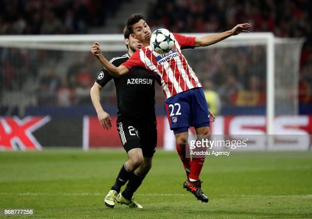 Nico Gaitan of Atletico Madrid in action against Afran Ismayilov of Qarabag during the UEFA Champions League Group C soccer match between Atletico...