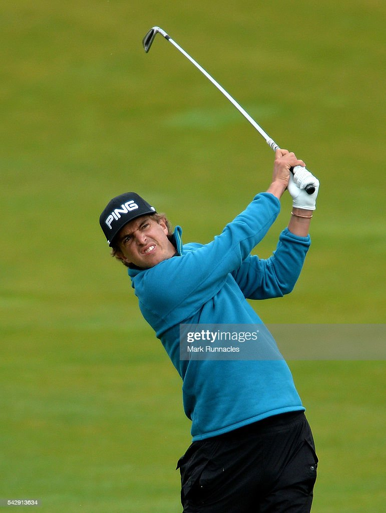 Nico Geyger of Chile second shot to the 1st during the third day of the 2016 SSE Scottish Hydro Challenge at the MacDonald Spey Valley Golf Course on June 25, 2016 in Aviemore, Scotland.
