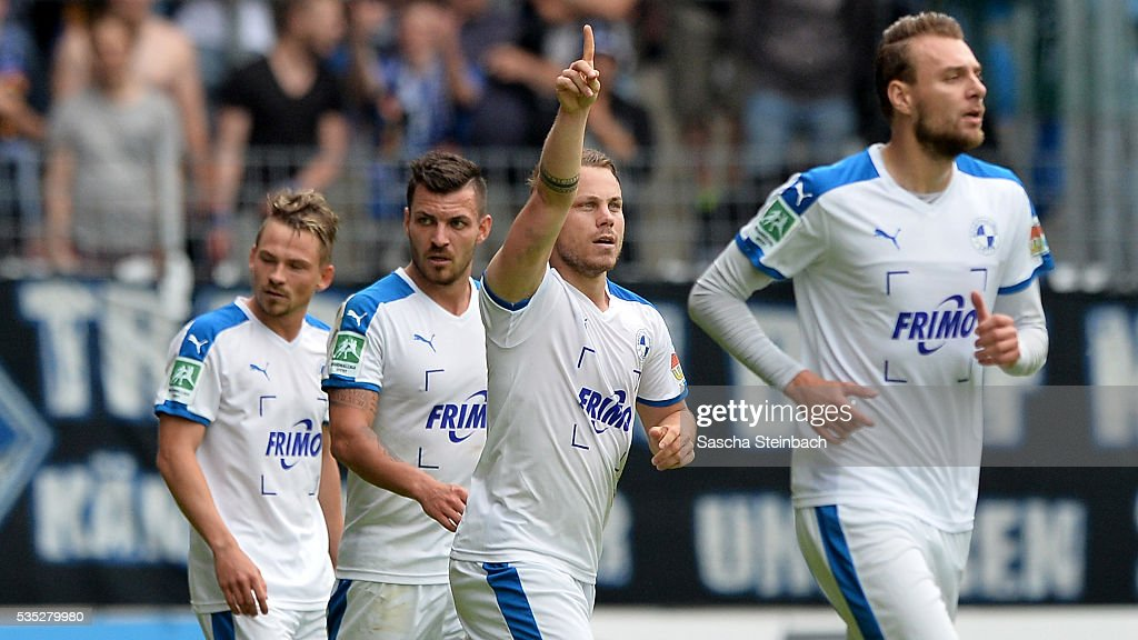 Nico Granatowski (C) of Lotte celebrates after scoring the opening goal during the 3. Liga playoff leg 2 match between Waldhof Mannheim and Sportfreunde Lotte at Carl-Benz-Stadion on May 29, 2016 in Lotte, Germany.