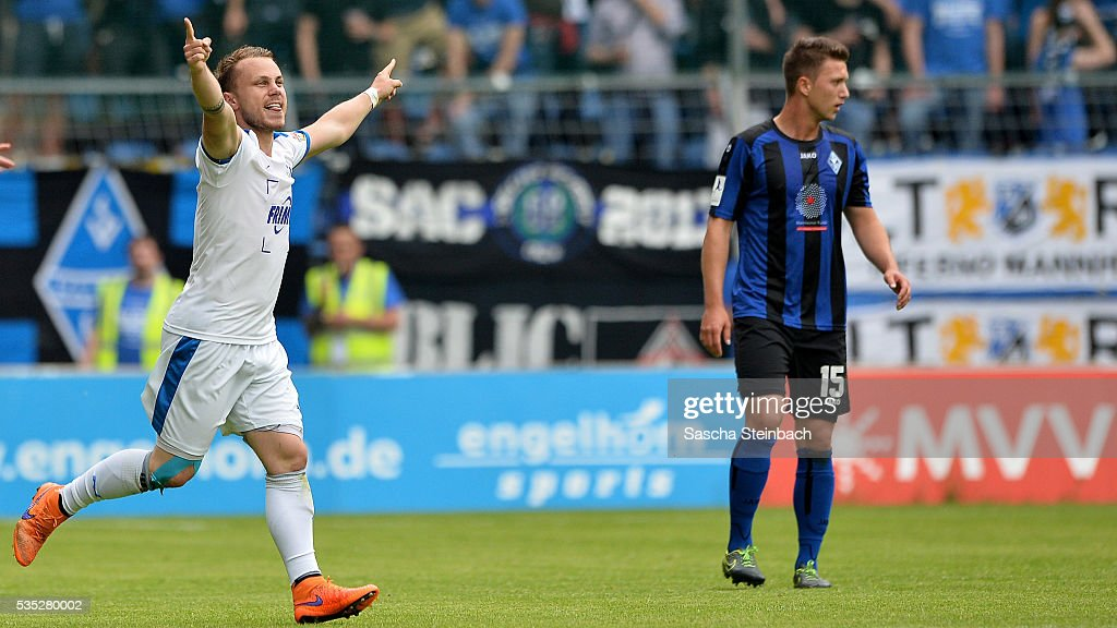 Nico Granatowski (L) of Lotte celebrates after scoring the opening goal during the 3. Liga playoff leg 2 match between Waldhof Mannheim and Sportfreunde Lotte at Carl-Benz-Stadion on May 29, 2016 in Lotte, Germany.
