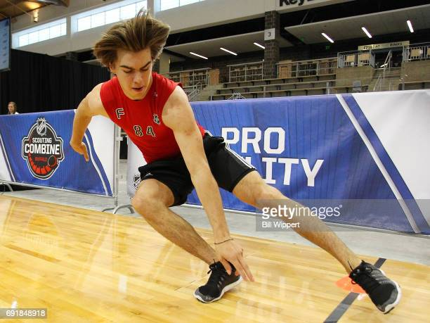 Nico Hischier does Pro Agility testing during the NHL Combine at HarborCenter on June 3 2017 in Buffalo New York