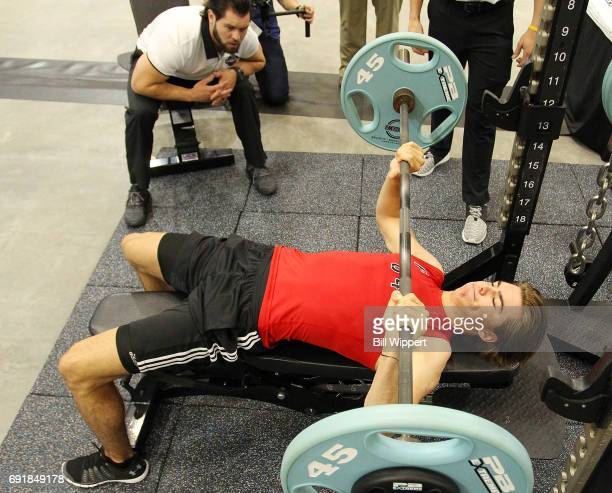 Nico Hischier does the Bench Press during the NHL Combine at HarborCenter on June 3 2017 in Buffalo New York