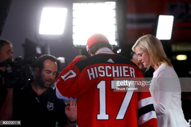 Nico Hischier is interviewed after being selected first overall by New Jersey Devils during the 2017 NHL Draft at the United Center on June 23 2017...