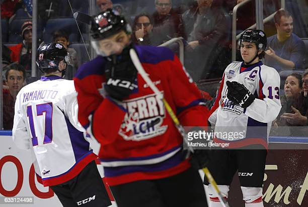 Nico Hischier of Team Orr celebrates his goal against Team Cherry during the second period of their SherwinWilliams CHL/NHL Top Prospects Game at the...
