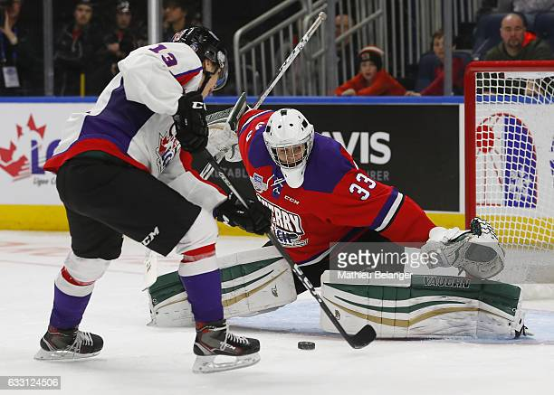 Nico Hischier of Team Orr scores a goal on Ian Scott of Team Cherry during the second period of their SherwinWilliams CHL/NHL Top Prospects Game at...