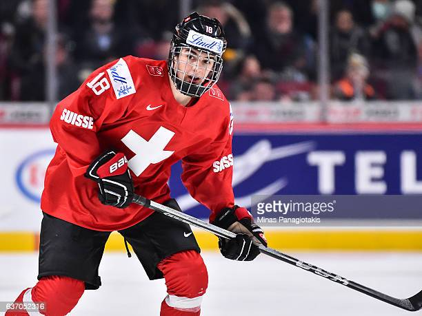 Nico Hischier of Team Switzerland looks on as he skates during the 2017 IIHF World Junior Championship preliminary round game against Team Sweden at...