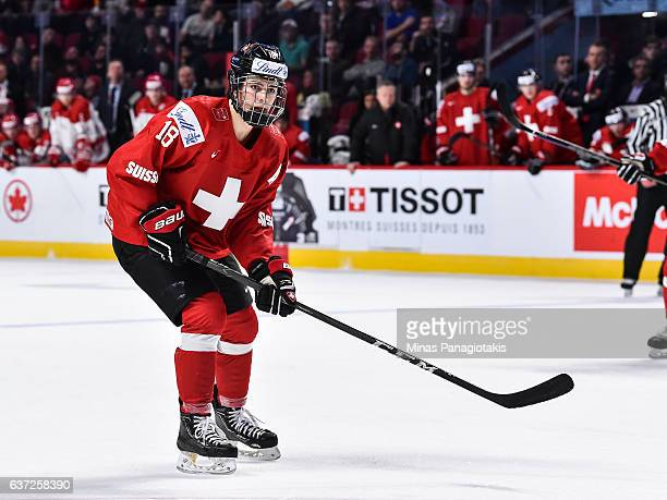 Nico Hischier of Team Switzerland looks on during the 2017 IIHF World Junior Championship preliminary round game against Team Denmark at the Bell...
