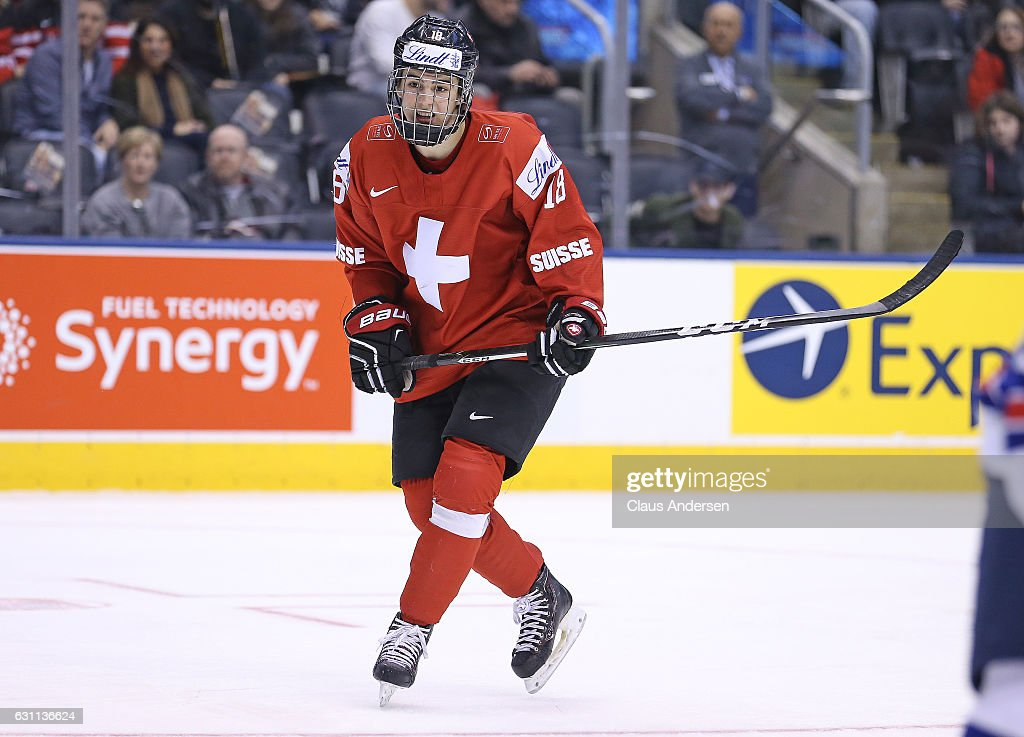 Nico Hischier #18 of Team Switzerland skates against Team USA during a QuarterFinal game at the 2017 IIHF World Junior Hockey Championships at Air Canada Centre on January 2, 2017 in Toronto, Ontario, Canada. Team USA defeated Team Switzerland 3-2.