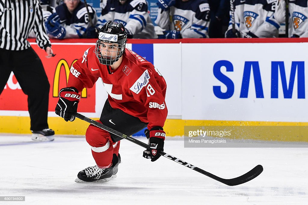 Nico Hischier #18 of Team Switzerland skates during the 2017 IIHF World Junior Championship preliminary round game against Team Finland at the Bell Centre on December 31, 2016 in Montreal, Quebec, Canada.