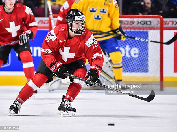 Nico Hischier of Team Switzerland skates during the 2017 IIHF World Junior Championship preliminary round game against Team Sweden at the Bell Centre...