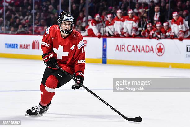 Nico Hischier of Team Switzerland skates during the 2017 IIHF World Junior Championship preliminary round game against Team Denmark at the Bell...
