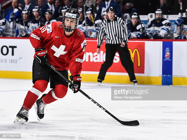 Nico Hischier of Team Switzerland skates during the 2017 IIHF World Junior Championship preliminary round game against Team Finland at the Bell...