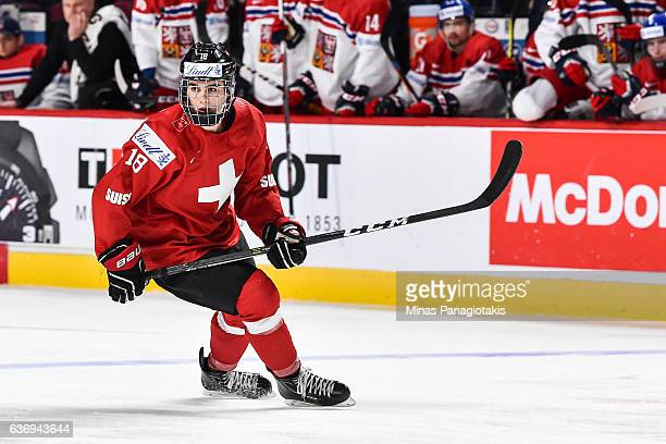 Nico Hischier of Team Switzerland skates during the IIHF World Junior Championship preliminary round game against Team Czech Republic at the Bell...