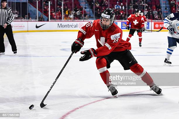 Nico Hischier of Team Switzerland skates the puck during the 2017 IIHF World Junior Championship preliminary round game against Team Finland at the...