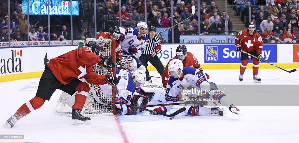 Nico Hischier #18 of Team Switzerland sores his 2nd goal of the game against Team USA during a QuarterFinal game at the 2017 IIHF World Junior Hockey Championships at Air Canada Centre on January 2, 2017 in Toronto, Ontario, Canada. Team USA defeated Team Switzerland 3-2.