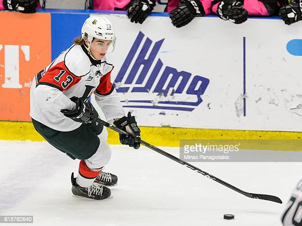 Nico Hischier of the Halifax Mooseheads skates the puck during the QMJHL game against the BlainvilleBoisbriand Armada at the Centre d'Excellence...