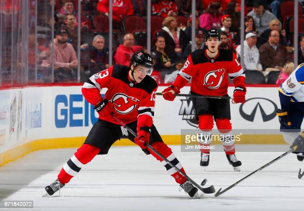 Nico Hischier of the New Jersey Devils in action against the St Louis Blues on November 7 2017 at Prudential Center in Newark New Jersey The Blues...