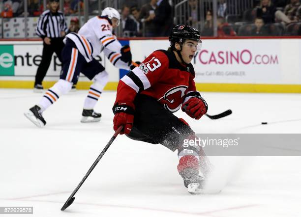 Nico Hischier of the New Jersey Devils skates against the Edmonton Oilers on November 9 2017 at Prudential Center in Newark New Jersey