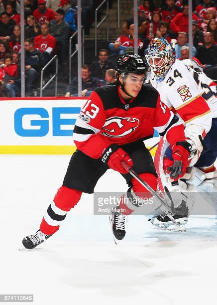 Nico Hischier of the New Jersey Devils skates against the Florida Panthers during the game at Prudential Center on November 11 2017 in Newark New...