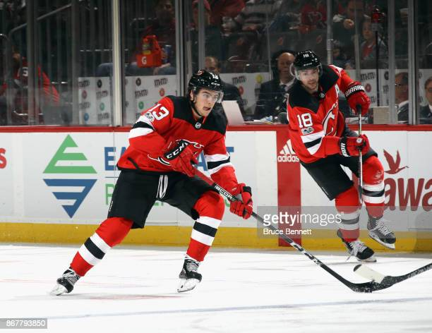 Nico Hischier of the New Jersey Devils skates against the Ottawa Senators at the Prudential Center on October 27 2017 in Newark New Jersey The Devils...