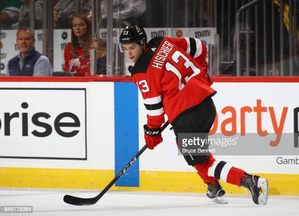 Nico Hischier of the New Jersey Devils skates against the Washington Capitals during the first period during a preseason game at the Prudential...