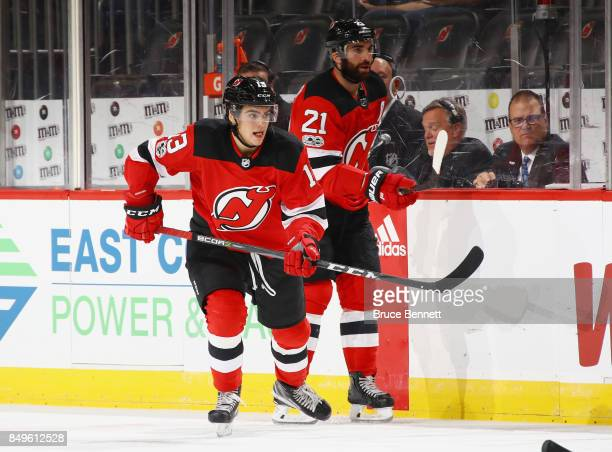 Nico Hischier of the New Jersey Devils skates against the Washington Capitals during a preseason game at the Prudential Center on September 18 2017...
