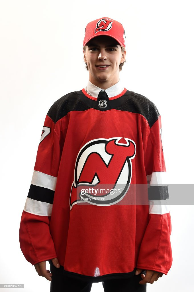 Nico Hischier poses for a portrait after being selected first overall by the New Jersey Devils during the 2017 NHL Draft at the United Center on June 23, 2017 in Chicago, Illinois.