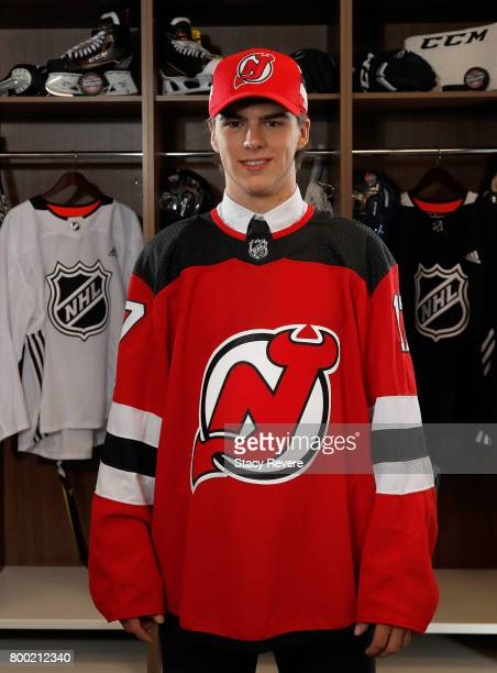 Nico Hischier poses for a portrait after being selected first overall by the New Jersey Devils during the 2017 NHL Draft at the United Center on June...