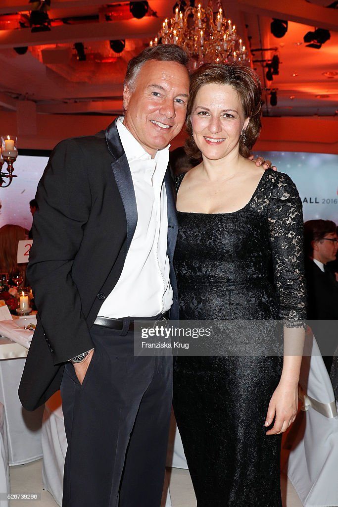 Nico Hofmann and Martina Gedeck attend the Rosenball 2016 on April 30 in Berlin, Germany.