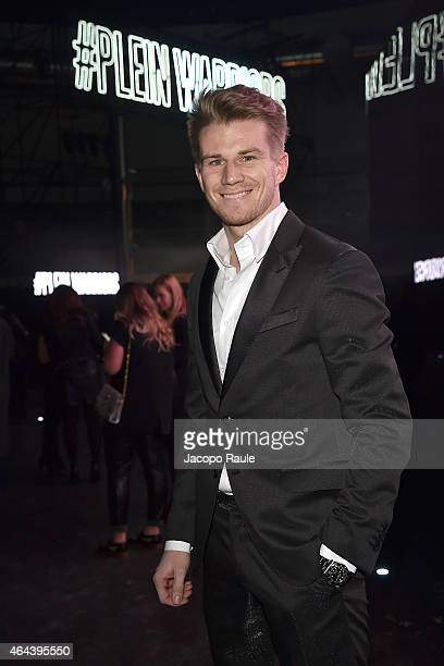 Nico Hulkenberg attends the Philipp Plein show during the Milan Fashion Week Autumn/Winter 2015 on February 25 2015 in Milan Italy