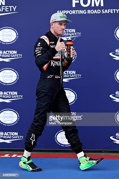 Nico Hulkenberg of Germany and Force India celebrates qualifying in third position in parc ferme during qualifying for the Formula One Grand Prix of...