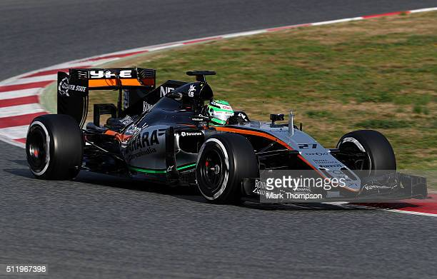 Nico Hulkenberg of Germany and Force India drives during day three of F1 winter testing at Circuit de Catalunya on February 24 2016 in Montmelo Spain