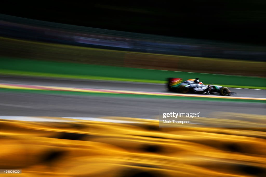 <a gi-track='captionPersonalityLinkClicked' href=/galleries/search?phrase=Nico+Hulkenberg&family=editorial&specificpeople=2566799 ng-click='$event.stopPropagation()'>Nico Hulkenberg</a> of Germany and Force India drives during final practice ahead of the Belgian Grand Prix at Circuit de Spa-Francorchamps on August 23, 2014 in Spa, Belgium.