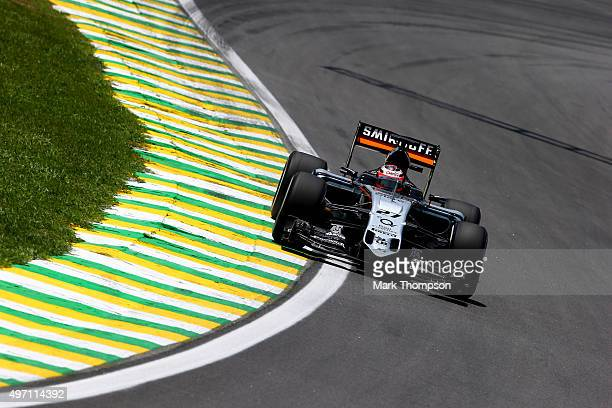 Nico Hulkenberg of Germany and Force India drives during final practice for the Formula One Grand Prix of Brazil at Autodromo Jose Carlos Pace on...